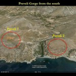 Photograph of Preveli gorge with locations of Palaeolithic sites Preveli 7 and 2.