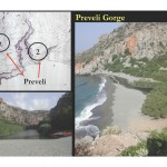 Map of Preveli sites 2 & 7, and photos of the gorge.