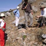 Team analyzing one of the marine terraces (Preveli 2) from which Palaeolithic tools are eroding.