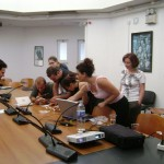 The archaeology students at the University of Rethymnon study Mesolithic tools.