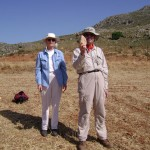 Priscilla Murray and Curtis Runnels, who hold a biface that Priscilla just discovered at Preveli 7.