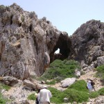 A partially collapsed limestone cave near the village of Ayios Pavlos. The survey targeted such south facing caves because they took advantage of the sun's warmth and were therefore desirable to Stone Age hunter-gatherers.